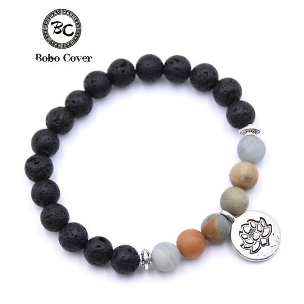 Bobo Couverture Pierre Naturelle Lotus Bouddha Perles Bracelet Mat Amazonite Perles Mala Bracelets Bracelets Pour Femmes Yoga Charm Bracelet