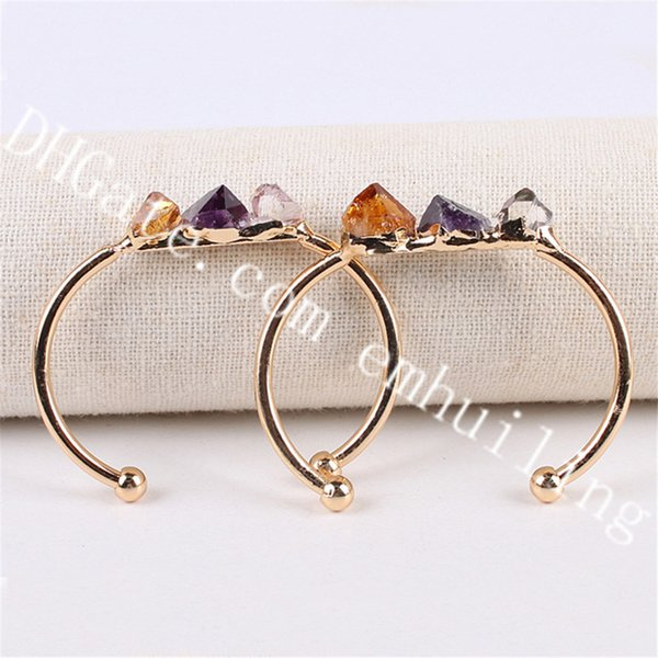 10Pcs 10-20mm Mini Freeform Raw Three Stone Genuine Natural Citrine and Amethyst Point Crystal Gold Plated Brass Cuff Open Bangles Bracelets