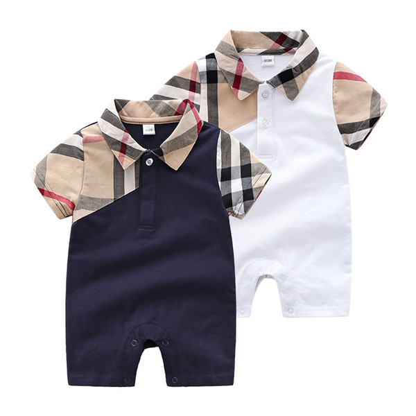 Summer Baby boys plaid romper Fashion toddler lapel short sleeve jumpsuits newborn cotton Onesie Designer kids clothes Y1595