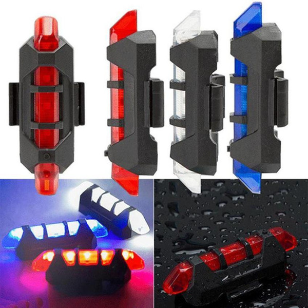 Hot sale New Cycling 5 LED USB Rechargeable bike light Bicycle light Tail Warning Light Rear Safety for bicycle accessories