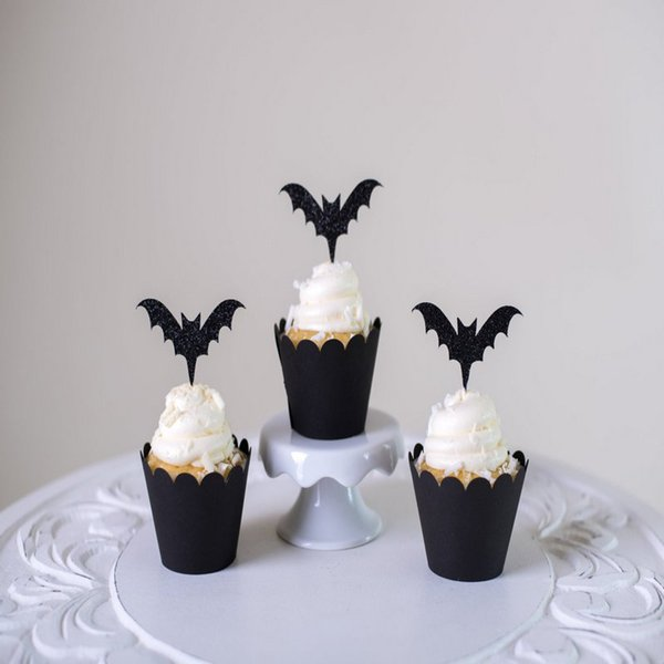 Halloween Festival Party Cake Card Insert Paper Card Cake Cup Rim Cupcakes Decoration 10 Sets ePacket