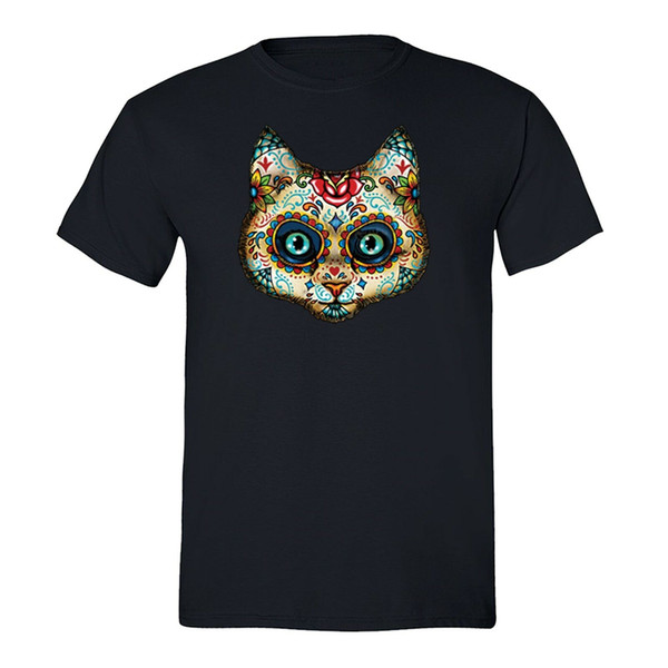 Sugar Skull Day of the Dead Cat T-shirt Pussy Kitty Mexican Gothic Dia Muertos 100% Cotton Short Sleeve T-Shirt New Top Tees cheap wholesale