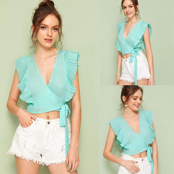 Женская сексуальная повседневная шифоновая рубашка с V-образным вырезом Майка Блузка Лето