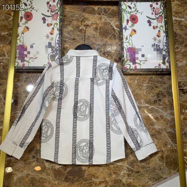 Atacado Crianças Meninos moda manga longa camisas de algodão menino branco tops roupas infantis