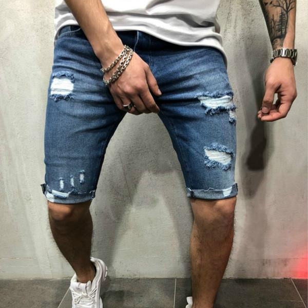 2019 New Fashion Mens Denim Pants Hole Slim Mens Jeans Distressed Hole Jeans Mens High Quality Denim Shorts