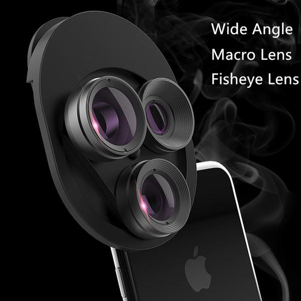 Universel 3 en 1 Fish Eye Grand Angle Macro Fisheye Zoom Pour iphone 7 8 plus XS MAX X Kit de lentilles de caméra pour téléphone portable