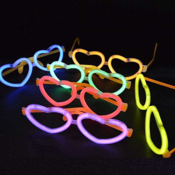 New Love Heart Glow Stick On Eyeglasses Glow In The Dark Rave Party Glasses Birthday Wedding Favors Glow Party Supplies