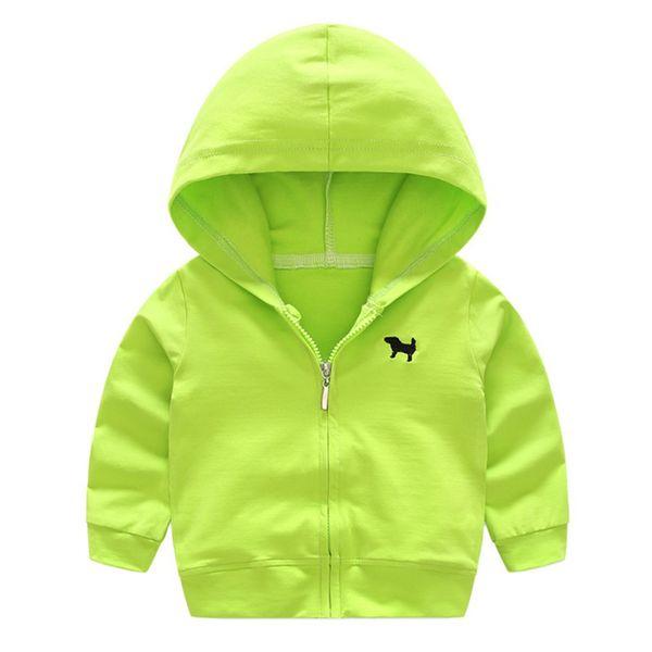 Высокое качество мальчики девочки толстовки с длинным рукавом сплошной цвет мода и пиджаки новые дети кофты кардиган куртки с капюшоном