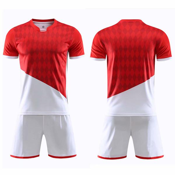 мужчины красный белый футбол Джерси с коротким рукавом набор мужчина футбол Джерси униформа взрослый футбол юношеский футбол рубашка заказной номер имя