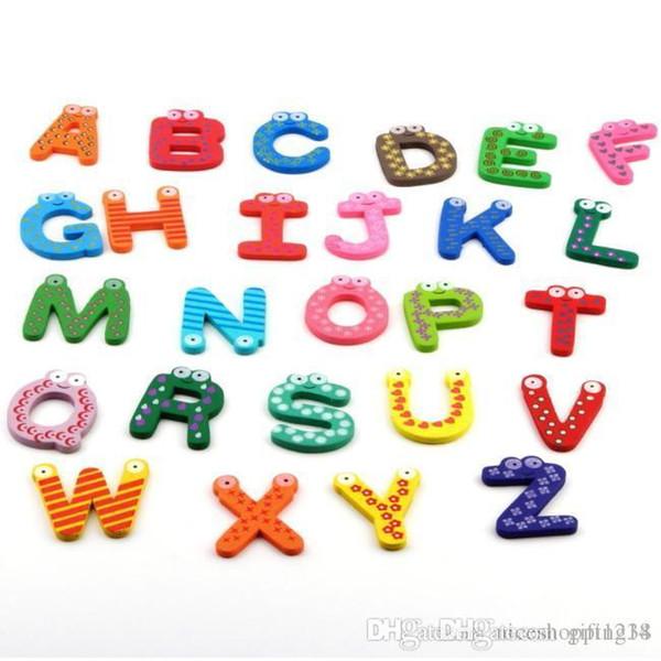Bravo Bravo Bravo H 2018 nuovo arrivo 1set Fridge Magnet legno del bambino / giocattolo del bambino A-Z ABC Alphabet Educativo 26 Lettere YKS T64