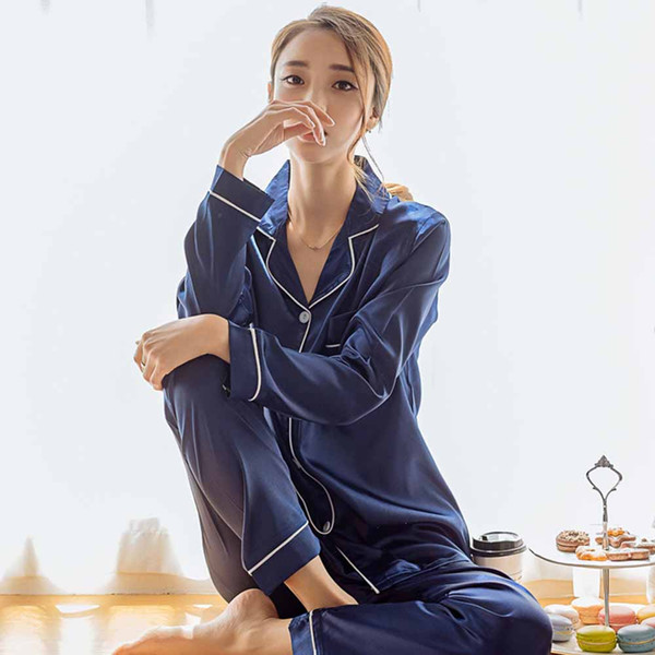 2019 Fall Casual Simple Plus Size Elegant Women Pajama Suits Lapel Plain Large Sizes Female White Sweet Sleepwear