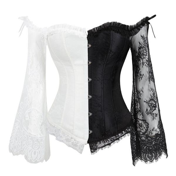 Le donne disossate corsetto maniche lunghe maglia ricamo Body Shaper che dimagrisce Bustier TS95