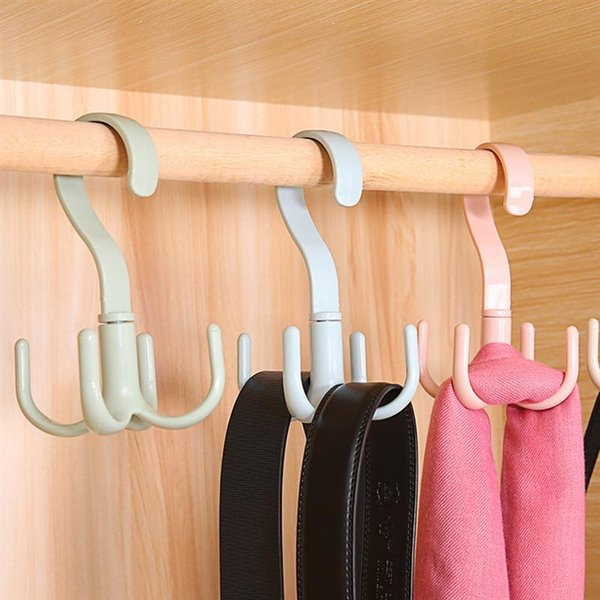 360 Degree Rotating Belt Tie Hanger Scarf Rack Holder Key Hook Closet Organizer