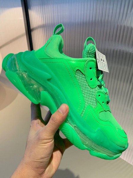 Paris Green Crystal Bottom Triple-S Scarpe per il tempo libero Luxury Dad Shoes Platform Triple S Sneakers Uomo Donna Vintage Kanye Old Grandpa Trainer