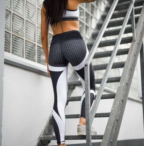 51d23bae11c0 Hot Honeycomb Printed Yoga Pants Women Push Up Sport Leggings Professional Running  Leggins Sport Fitness Tights