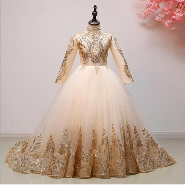 Long Trailing Gold Tulle Girl's Pageant Dresses Sequin Lace Wedding Summer Princess Party Dresses Flower Girl First Communion Prom Gown