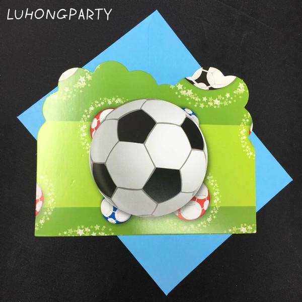 Compre Diseño De Fútbol 12 Piezas Tarjetas 12 Piezas Sobres Tarjeta De Invitación Fiesta De Cumpleaños Suministro Tarjeta De Invitación De Fútbol A