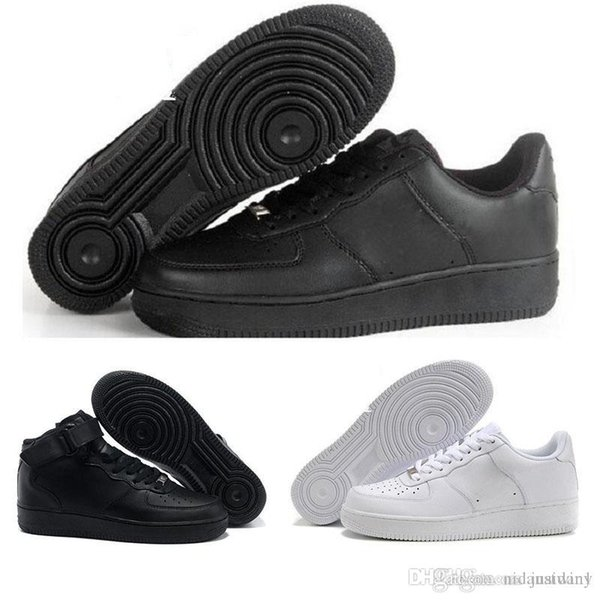 2019 HOT Men&Women High Quality One 1 casual Shoes Low Cut All White Black Colour Casual Sneakers Size US 36-44
