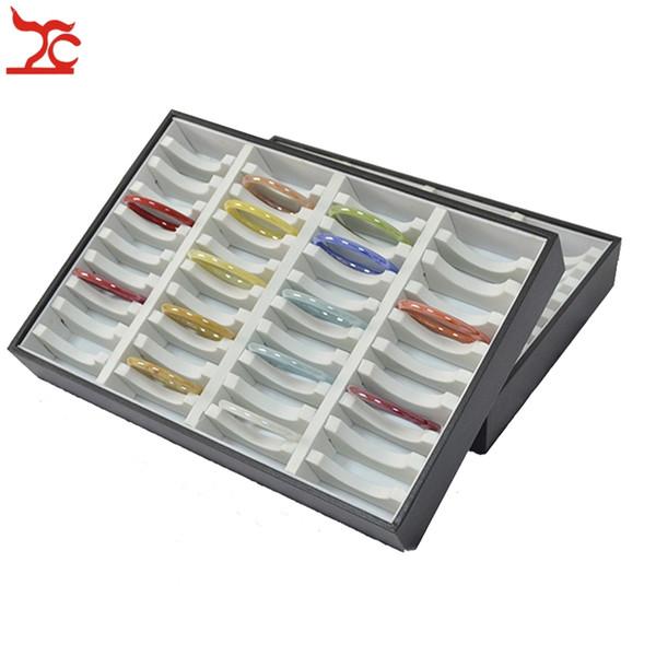 40 Slots Jewelry Display Case Leatherette Compartments Bracelet Bangle Storage Holder Organizer Jade Tray