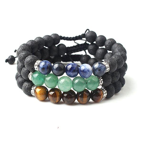 8MM Natural Stone Black Lava Stone Beads Bracelet Adjustable Braided Chain DIY Essential Oil Diffuser Bracelet Friendship Jewelry