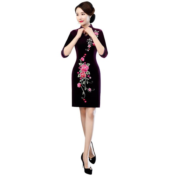 New Chinese Traditional Women Velour Short Qipao Vintage Cheongsam Novelty Chinese Formal Dress Size M L XL XXL 3XL 4XL 5XL