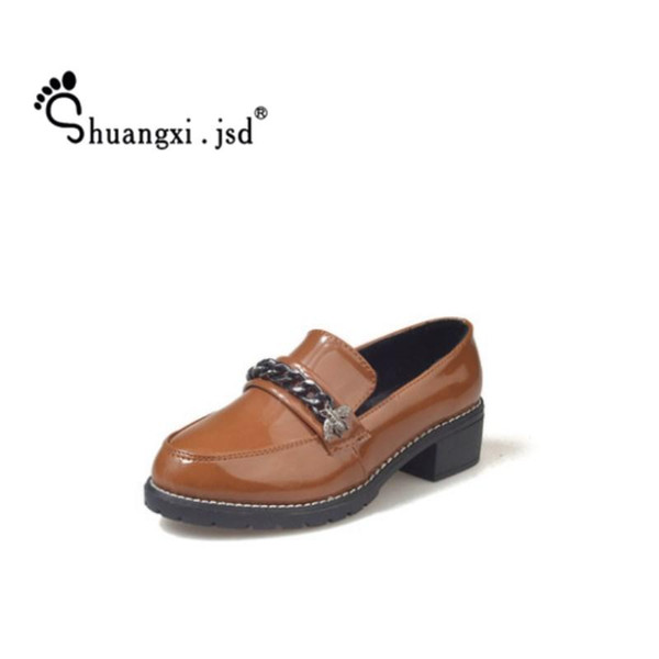 Designer Dress Shoes Shuangxi.jsd 2019 Summer Chain Women Leather Brown Work High Quality Wild Round head Woman Shoe Zapatos mujer