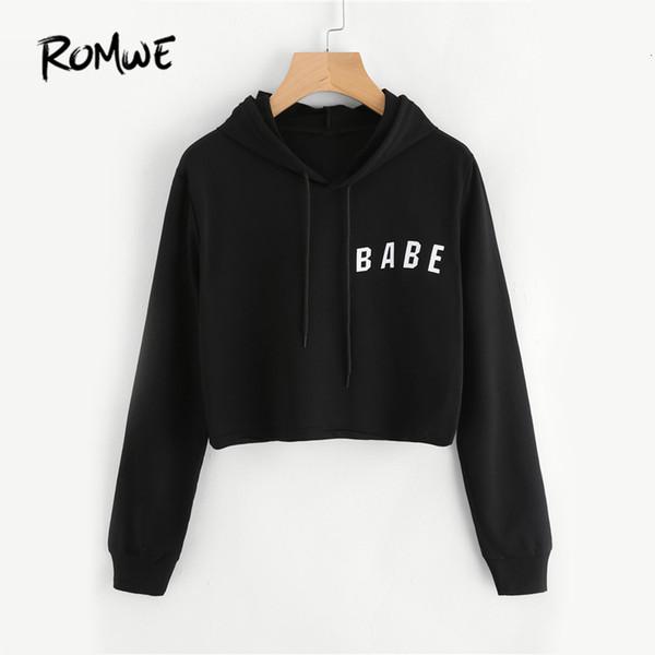 ROMWE Drawstring Black Crop Hoodies Letter Print Women Graphic Long Sleeve Hooded Sweatshirt Autumn Basic Brief Bts Hoodies Y190916