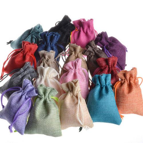 """Small Jute Flax Drawstring Pouch 7x9cm(2.75""""x3.5"""") pack of 50 Birthday Wedding Party Candy Chocolates Linen Favor Bag"""