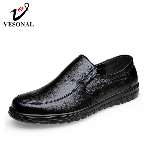 VESONAL 2019 Summer comfortable Slip-On Genuine leather Loafers For Men Shoes Moccasins office Business Dress formal Male shoes SH190926