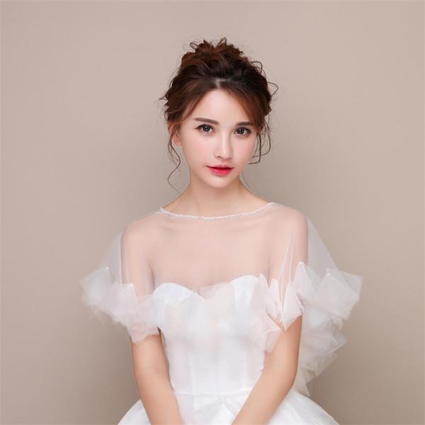 2020 Идеальная Весна Кружево Кристалл Свадебного болеро Wrap для невесты белого свадебной куртки шали Свадебных аксессуаров