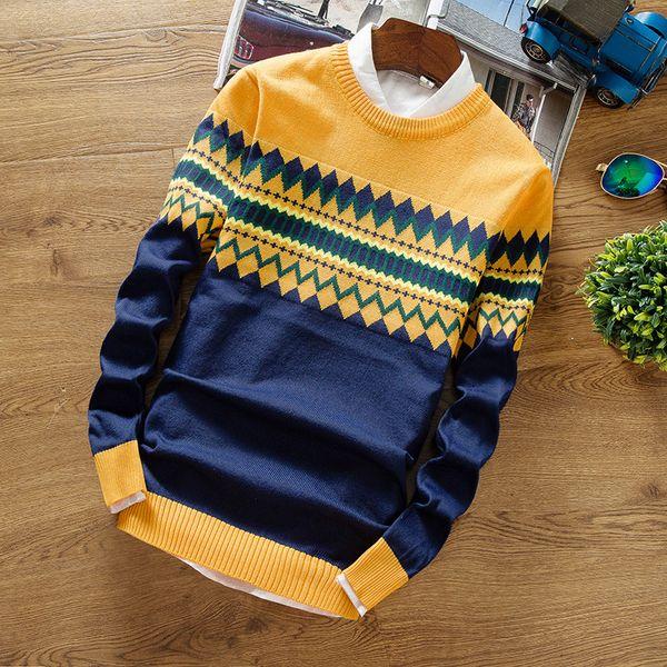 2019 Новый свитера мужская мода стиль Осень Зима лоскутное вязаный пуловер качество мужчины повседневная свитер XXXL