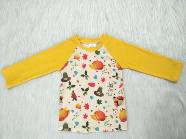 Nuovo arrivo autunno bambini ragazze maglietta manica lunga tacchino zucche cappello t-shirt ragazzi ragazze boutique biancheria intima abbigliamento gxj