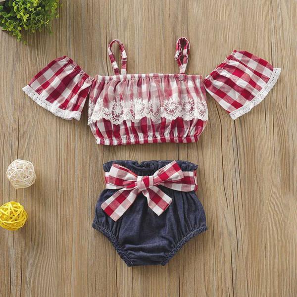 Pudcoco Summer Toddler Baby Girl Одежда С Плеча Кружева Рюшами Плед Ремешки Топы Короткие Штаны Бантом Пояс 2 Шт. Наряды Одежда