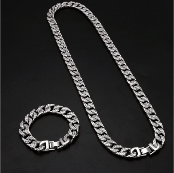 Mens Gold Silver Plated Cuban Hip Hop Miami Necklace Chain Bracelet Set 13mm 8inch 18/20/24/30Inch