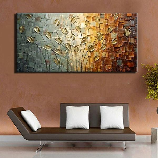 Main texture couteau couteau sans cadre fleur abstrait arbre mur moderne peinture à l'huile toile accueil mur décor pour la décoration de la chambre