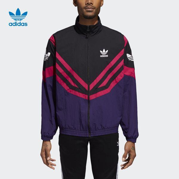 Mens Unisex Marke Jacken 2019 Retro Sport Windjacke Mode gestreiften farblich passenden Jacken lässig Reißverschluss Strickjacke Street Jogging Tops