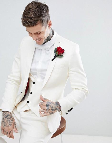 Marca New Groomsmen Notch lapela do noivo smoking Homens Marfim Ternos de casamento / Prom / Jantar melhor homem Blazer (Jacket + Calças + Tie + Vest) G219