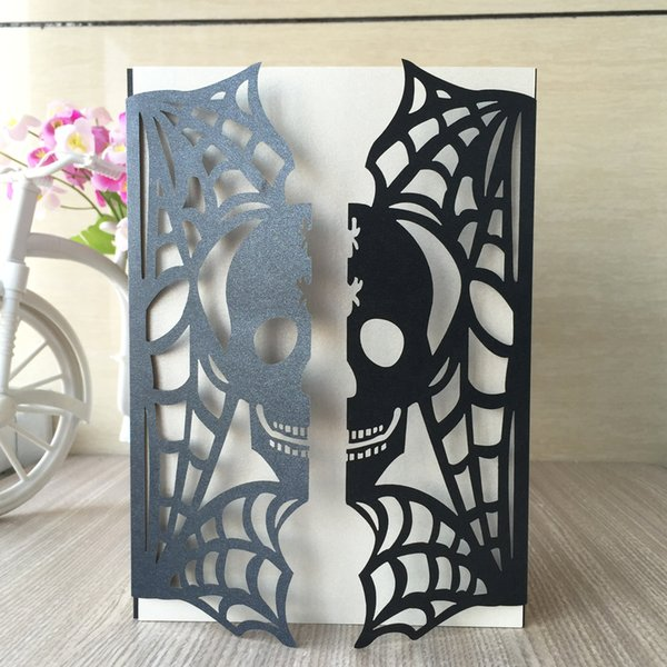 20Pcs/Lot Skull Pattern Unique Wedding Invitation Cards Exquisite Envelope Modern Stylish Engagements Ceremony Invitations Halloween Party