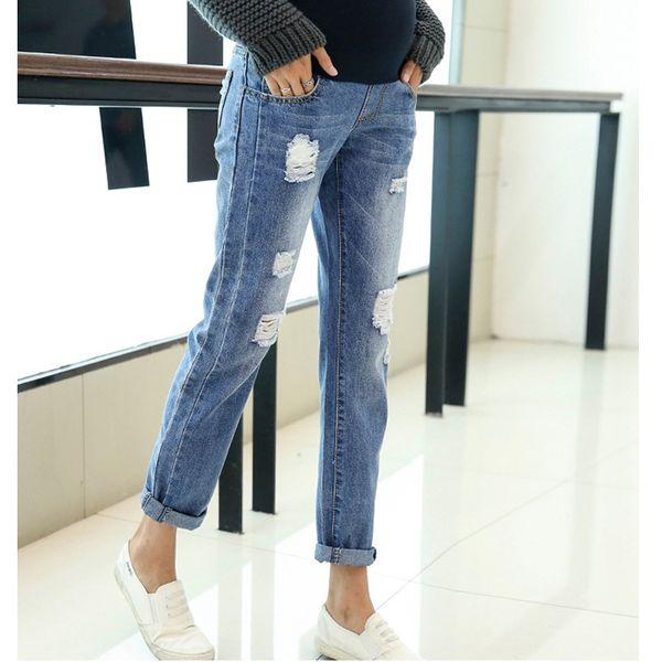 Abbigliamento di maternità Jeans Pantaloni per le donne incinte Vestiti Pantaloni per l'allattamento Gravidanza Salopette Denim Lungo Prop Legatura pancia Nuovo Q190530