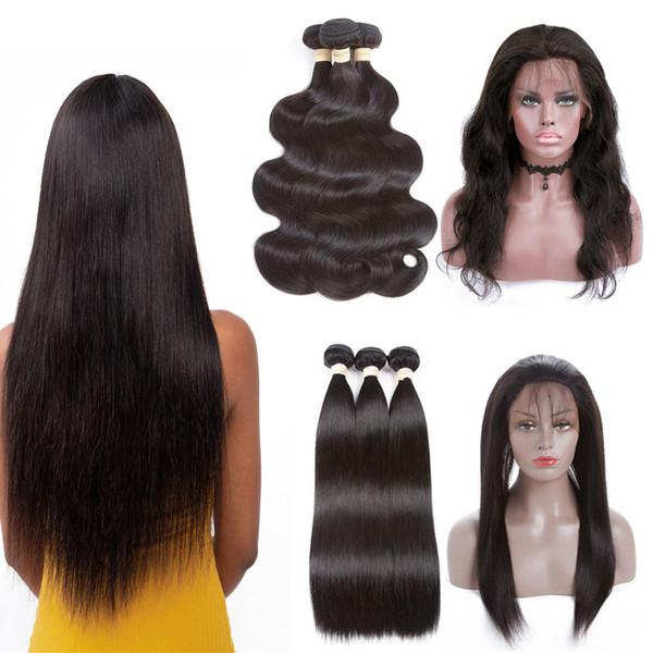 360 dentelle frontale fermeture avec des faisceaux droites perruques avec des cheveux de bébé 8A vague de corps brésilienne vierge de cheveux humains préplumée ligne de cheveux naturels