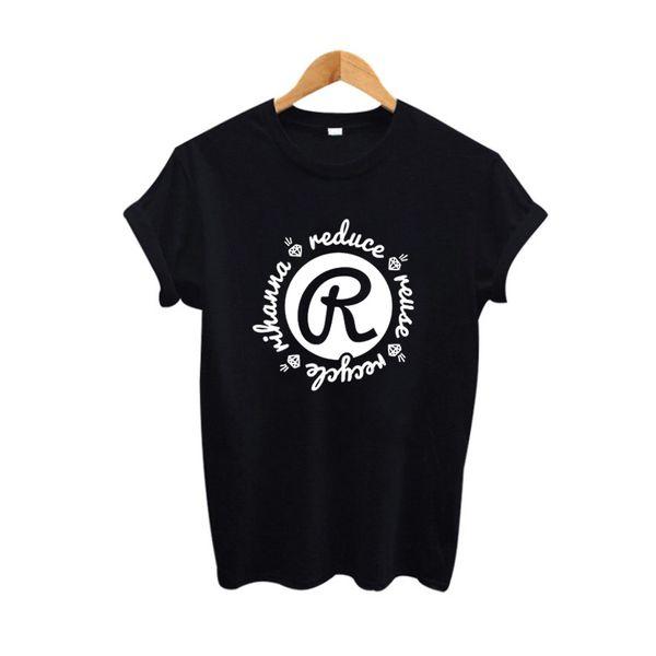 T das mulheres Reduzir Reutilizar Reciclar Harajuku T-shirt Mulheres Ambientalismo Gráfico Tees Preto Branco Tops Tumblr Hipster Feminino Camisas Engraçadas de T