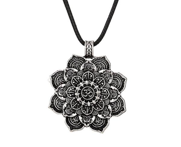 12pcs rétro tibétain collier spirituel tibétain mandala collier pendentif géométrie amulette bijoux religieux