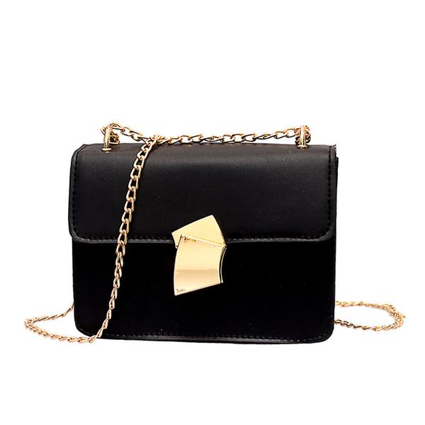 Shoulder Bag For Women 2019 Fashion Vintage Chain Leather Bag Retro Black Ladies Shopper Luxury Handbags Women Bags Designer