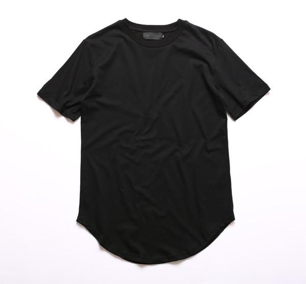 Kanye West Extended T-Shirt Men Summer Curved Hem Longline Hip Hop Tshirts Urban Blank Mens Tee Shirts Justin Bieber Clothes
