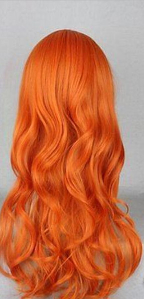 WIG Hot heat resistant Party hair>>>60cm Long Curly Orange After two years of One Piece Nami Cosplay Costume Wig