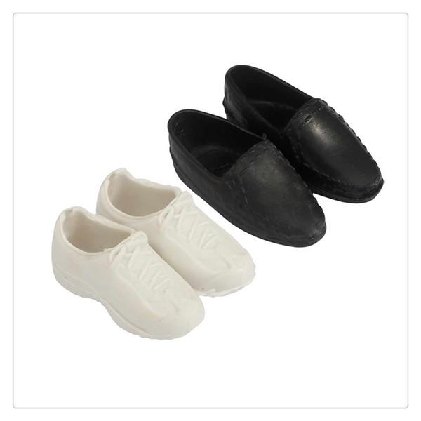 2 pares de mini zapatos de juguete Calzado deportivo blanco y negro para Ken Dolls Accesorios geniales