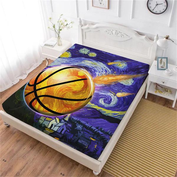 Lenzuolo da sport con pittura a olio 3D Lenzuolo da basket in acrilico Design Lenzuolo da basket Fans Bedding Deep Pocket Home Decor