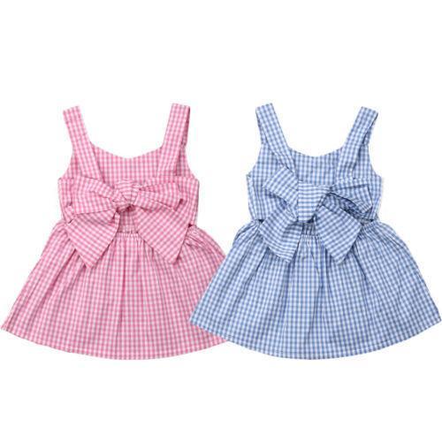 Kleinkind Kinder Baby Mädchen Sommer Боген-узловая клетчатая вечеринка Kleid Повседневный Kleidung 1-6y