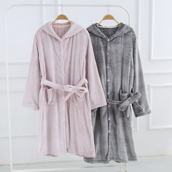Men Women Flannel Winter Bathrobes Pink Gray Thick Warm Hooded Bath Robes for Male Female Home Wear Couple Dressing Gown