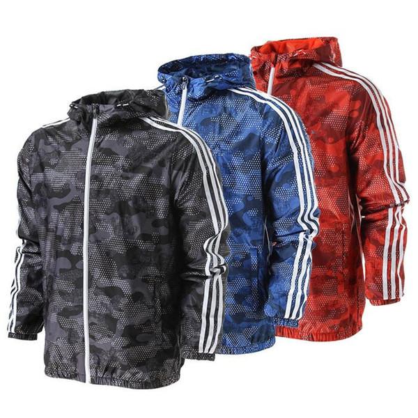 Fashion Spring Autumn Coat Men ' ;S Windbreaker Sports Casual Sunblock Student Running Jacket Male Camouflage 3 Stripe Dustcoat Men Sp